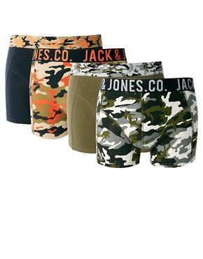 Image 1 ofJack &amp; Jones Camo 4 Pack Trunks