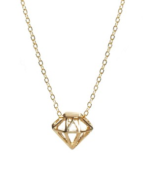 Image 1 ofFrench Connection Diamond Cage Ditsy Pendant Necklace