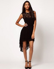 ASOS Dress in Mesh And Lace With Dipped Hem