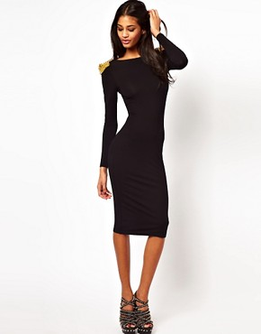 Image 1 ofASOS Bodycon Dress with Stud Detail