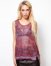 Edun Printed Open Back Knitted Tank Top
