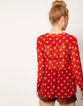 Image 2 ofMinkpink &#39;Double Take&#39; Polka Dot Chiffon Shirt