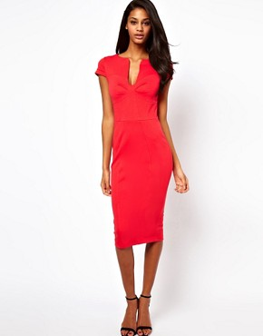 Image 1 ofASOS Pencil Dress With Seamed Bust