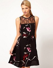 French Connection Lace Insert Fit and Flare Dress