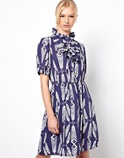 Ivana Helsinki Day Dress with Ruffle High Collar