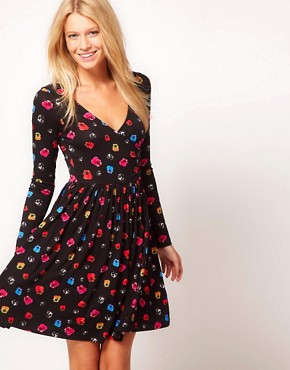 Image 1 ofASOS Skater Dress With Ballet Wrap In Floral Print