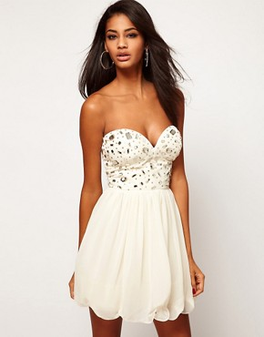 Image 1 ofLipsy Bandeau Dress With Embellishment