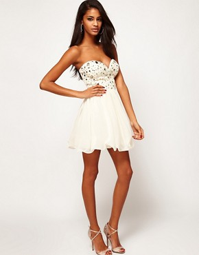 Image 4 ofLipsy Bandeau Dress With Embellishment
