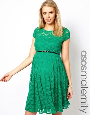 Image 1 ofASOS Maternity Lace Skater Dress With Belt