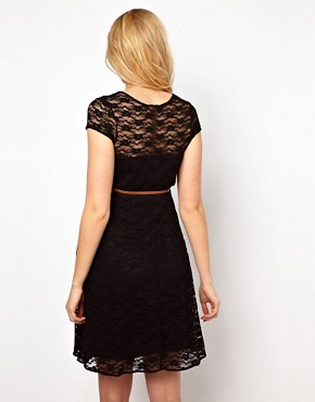 Image 2 ofASOS Maternity Lace Skater Dress With Belt