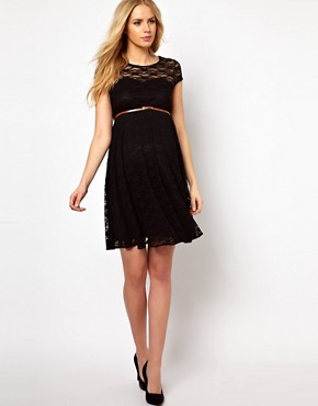 Image 4 ofASOS Maternity Lace Skater Dress With Belt