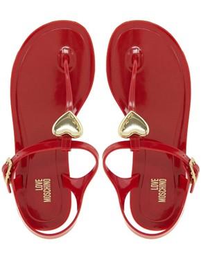 Image 3 ofLove Moschino Jelly Heart Flat Sandals