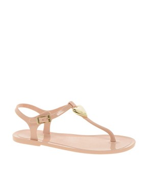 Image 1 ofLove Moschino Jelly Heart Flat Sandals