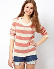 A Wear Stripe And Woven Mix Sweater