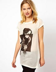 Selected - T-shirt con stampa operata