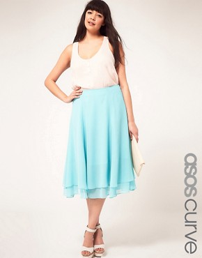 Image 1 ofASOS CURVE Double Layer Soft Midi Skirt