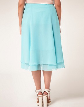 Image 2 ofASOS CURVE Double Layer Soft Midi Skirt