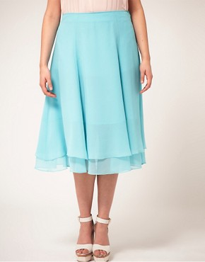 Image 4 ofASOS CURVE Double Layer Soft Midi Skirt