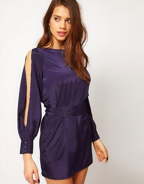 Image 2 ofASOS PETITE Exclusive Dress With Split Sleeves And Cut Out Back