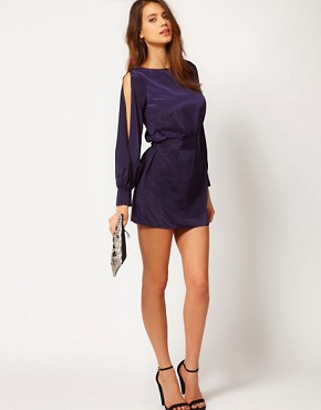 Image 4 ofASOS PETITE Exclusive Dress With Split Sleeves And Cut Out Back