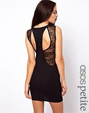 ASOS PETITE Exclusive Bodycon Dress With Lace Cut Out Back Dress