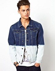 River Island Denim Jacket With Dip Dye