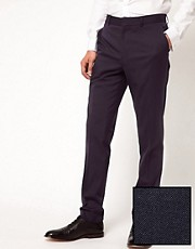 ASOS Skinny Fit Tuxedo Suit Pants In Navy Polywool