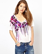 Paul by Paul Smith Oversized Tee in Dripping Floral Print