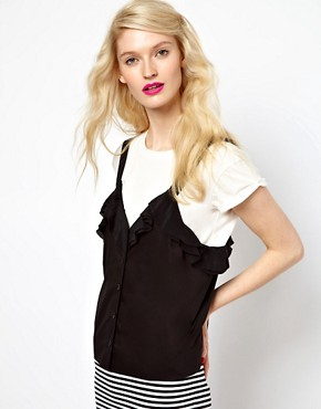 Image 1 ofSonia by Sonia Rykiel Dungaree Tshirt in Silk with Tshirt Underlay