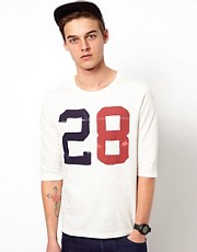 ASOS 3/4 Sleeve T-Shirt With Varsity Print