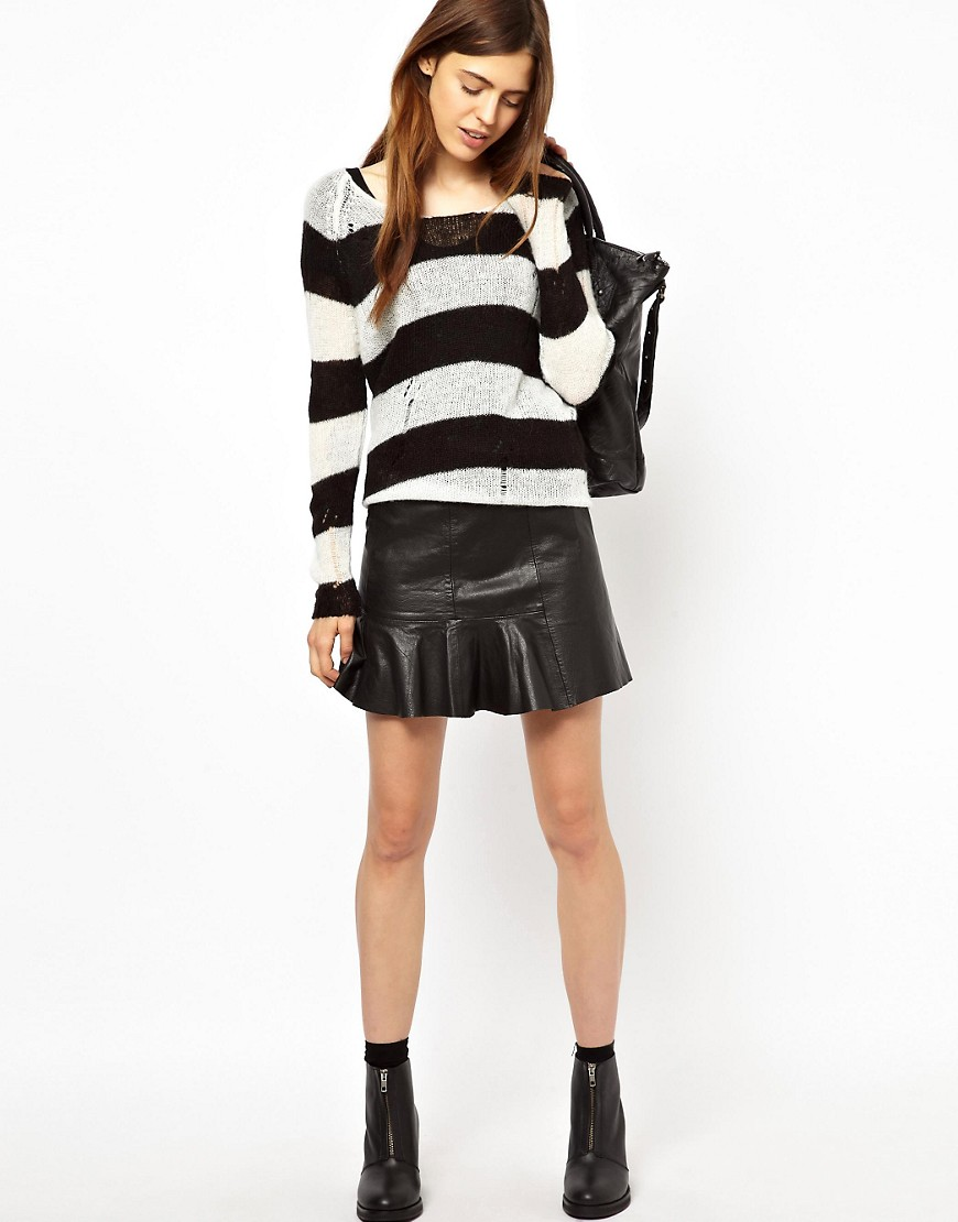 HIDE Mini Skirt with Flared Hem - Black