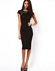 ASOS Bodycon Dress With PU Panels And Short Sleeves