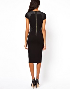 Image 2 ofASOS Bodycon Dress With PU Panels And Short Sleeves