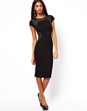 Image 4 ofASOS Bodycon Dress With PU Panels And Short Sleeves