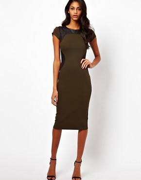 Image 1 ofASOS Bodycon Dress With PU Panels And Short Sleeves