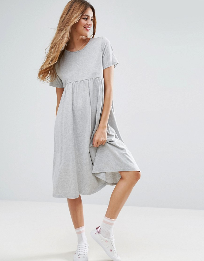 ASOS Ultimate Midi Smock Dress - Gray