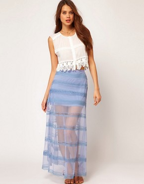 Image 1 ofASOS Maxi Skirt in Mesh and Lace