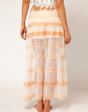 Image 2 ofASOS Maxi Skirt in Mesh and Lace
