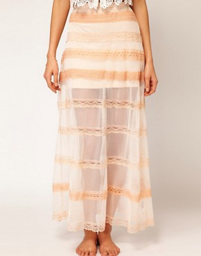 Image 4 ofASOS Maxi Skirt in Mesh and Lace
