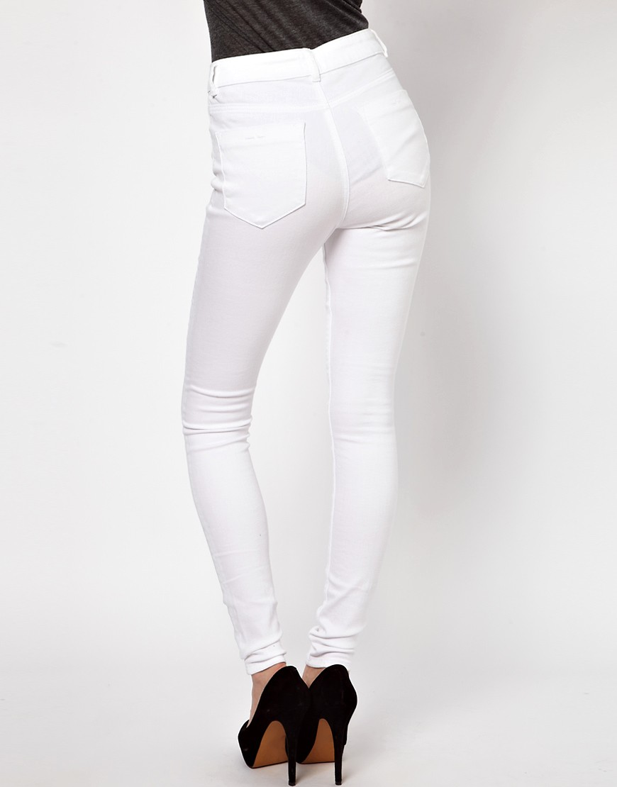 Image 2 of ASOS  PETITE Ridley High Waist Ultra Skinny Jeans In White