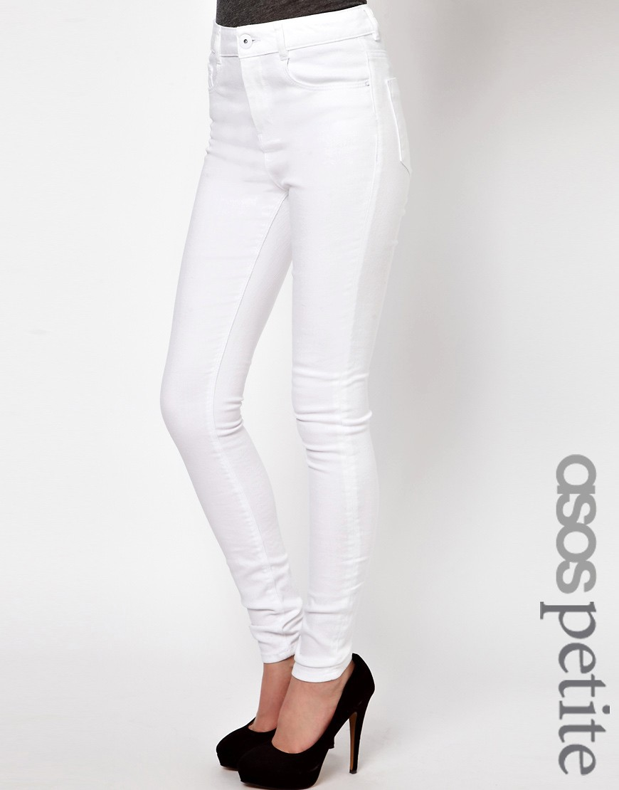 Image 1 of ASOS  PETITE Ridley High Waist Ultra Skinny Jeans In White