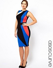 ASOS CURVE Exclusive Bodycon Dress In Colour Block
