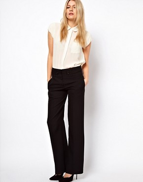 Image 1 ofASOS Wide Leg Trousers with Tab