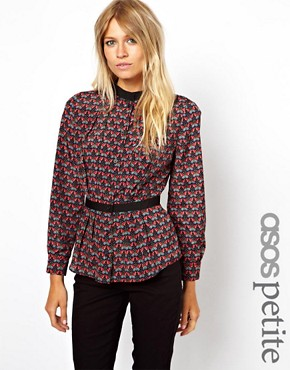 Image 1 of ASOS PETITE Exclusive Butterfly Print Peplum Hem Blouse