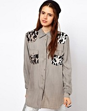 Just Female Shirt With Leopard Patches