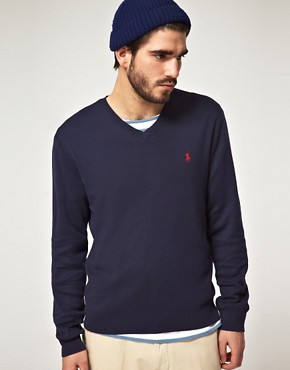 Image 1 ofPolo Ralph Lauren Pima Cotton V Neck Jumper