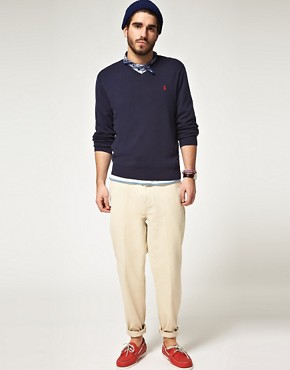 Image 4 ofPolo Ralph Lauren Pima Cotton V Neck Jumper