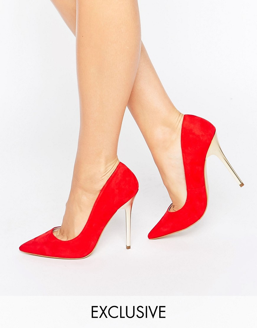 office-shop-suede-gold-heeled-shoes-red