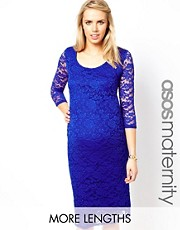 ASOS Maternity Exclusive Midi Body-Conscious Dress In Lace with Scoop Neck