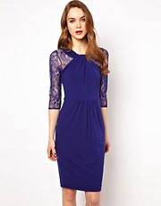 Coast Tamiami Lace Sleeve Jersey Dress